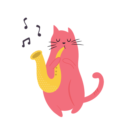 Funny cat playing saxophone. Vector illustration. Character design. Pet collection. Jazz musician
