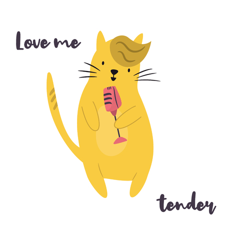 Funny yellow cat singing in microphone. Vector illustration. Character design. Pet collection. Jazz musician