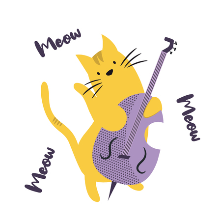 Funny cat playing contrabass. Vector illustration. Character design. Pet collection