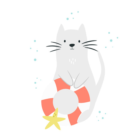 Cute cat with swimming ring and sea star. Isolated scandinavian cartoon. Summer time concept. Suitable for prints, childish t-shirts, books, textile Illustration