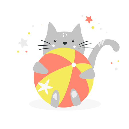 Funny grey cat hugging a beach ball. Suitable for prints, childish t-shirts, books, textile