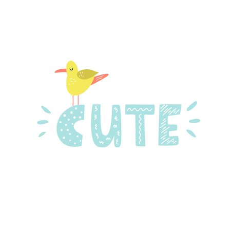 Mischievous Lettering text CUTE with funny seagull. Suitable for prints, childish t-shirts, books, textile Illustration