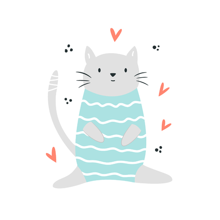 Funny cat sitting in a swimming costume. Isolated scandinavian cartoon
