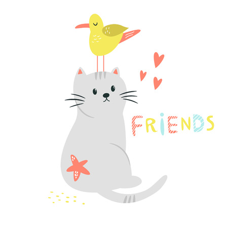 Funny cat and seagull friends. Friendship concept. Funny illustration with lettering text. Isolated scandinavian cartoon Illustration