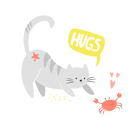Funny cat and crab friends. Friendship concept. Funny illustration with lettering text. Isolated scandinavian cartoon
