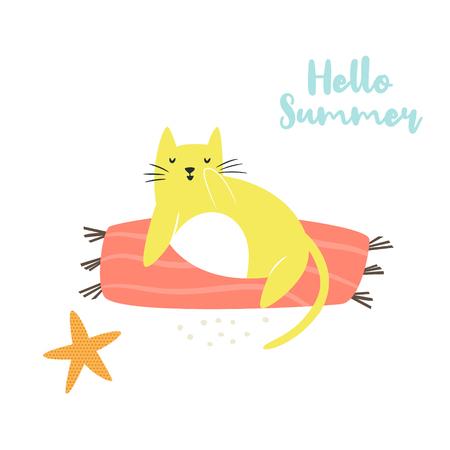 Cute hand drawn cat on a beach. Summer time. Isolated scandinavian cartoon illustration.
