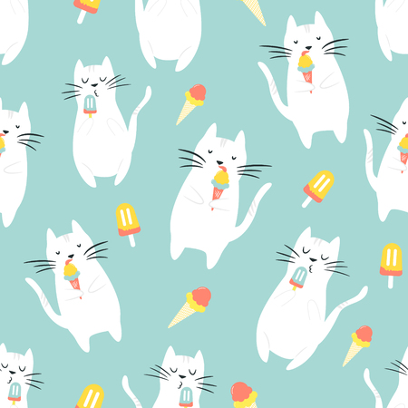 Patrón sin fisuras con gatos graciosos comiendo helado. Adecuado para Web, papel de regalo, textil, caja de regalo, fondo.