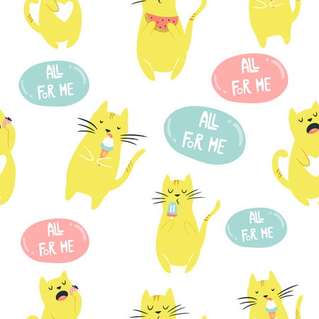 Seamless pattern with funny eatoing egoist cat. Suitable for kids textile, wrapping paper for gift box, backgrounds