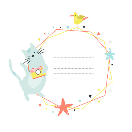Card template with Funny cat photographer. Vector illustration