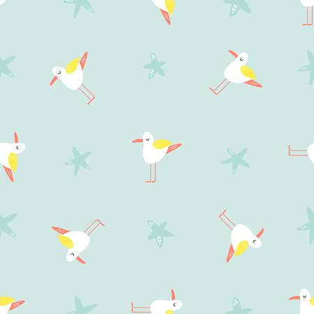 Bright seamless pattern with funny seagulls