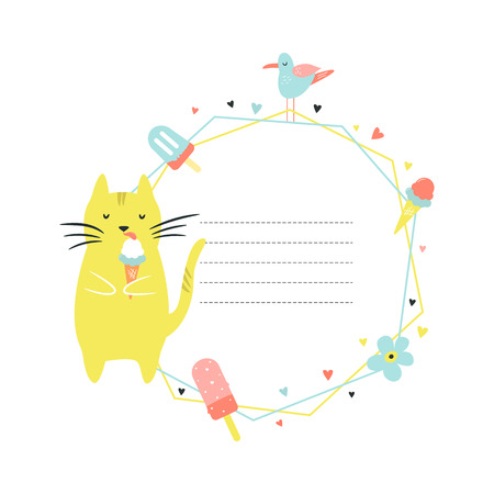 Card template with Funny cat eating ice cream. Vector illustration Illustration