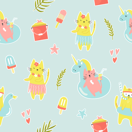 Bright seamless pattern with funny summer cats. Web, wrapping paper, textile, gift box, background Illustration