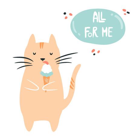 Funny fat egoist cat eating ice cream. Loving myself concept. Vector illustration