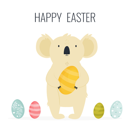Happy Easter greeting card with cute koala