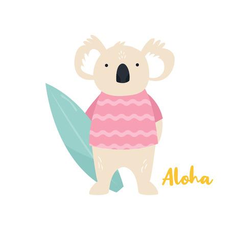 Beach koala illustration. Surfer animal concept. Summer Vector illustration