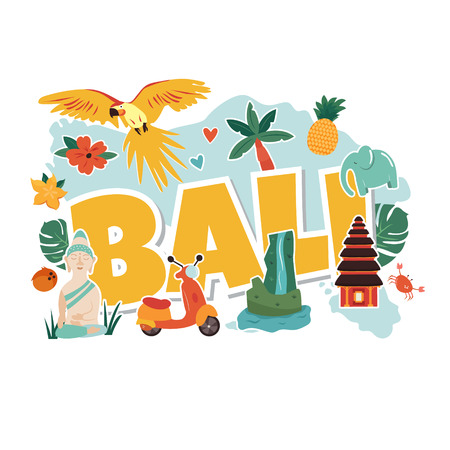 Cartoon illustration with Bali famous landmarks, symbols. Suitable for prints, banners, books, advertisment Illustration