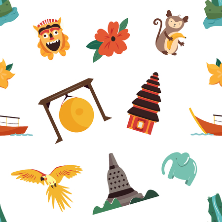Seamless pattern with asian symbols, landmarks