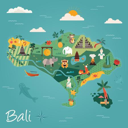 Cartoon illustration with Bali famous landmarks, symbols