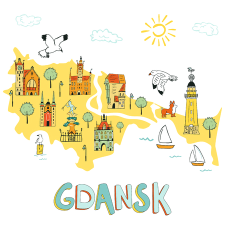 Hand drawn illustrated map of Gdansk with tourist attractions. Illustration for travel guide, poster or apparel design