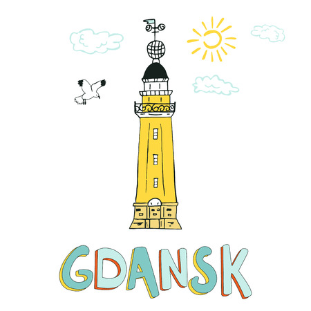 Illustrated card with lighthouse in Gdansk. Illustration for travel guide, poster or apparel design