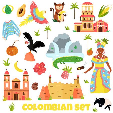 Ensemble de symboles colorés, monuments de la Colombie Vecteurs
