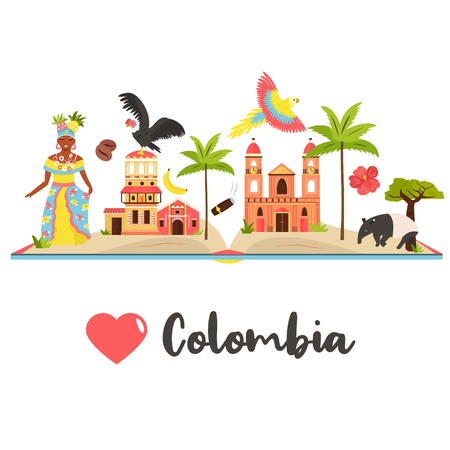 Tourist poster with famous destination of Colombia