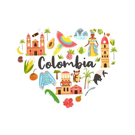 Touristisches Poster mit berühmten Reisezielen und Wahrzeichen Kolumbiens. Erkunden Sie das Kolumbien-Konzeptbild. Für Banner, Reiseführer Vektorgrafik