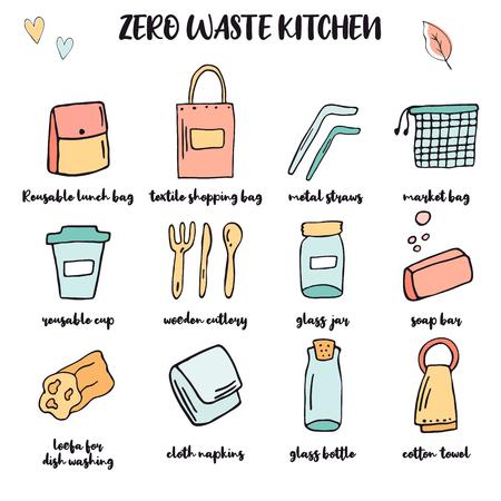 Zero Waste Küche großes Set. Handgezeichnete Gegenstände. Plastikfreie Essentials