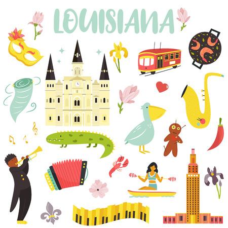 Ensemble d'icônes de dessin animé, éléments de l'état de la Louisiane