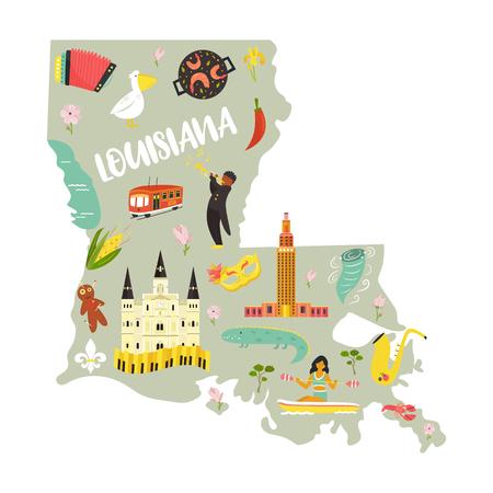 Carte de bande dessinée de la Louisiane avec des repères et des symboles