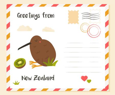 New Zealand postcard with kiwi bird and fruit