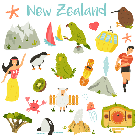 New Zealand set of symbols, elements, landmarks, animals
