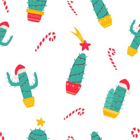 Christmas seamless pattern with holiday cacti