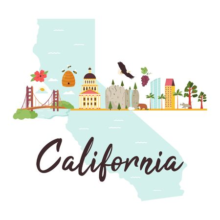 Bright design with famous places of California