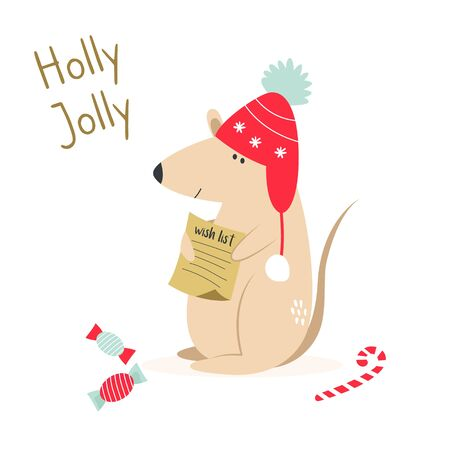 Christmas card with cute funny mouse. Holiday seasons greetings Ilustracja