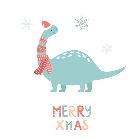 Dino di vacanza in cappelli di Babbo Natale. Carta disegnata a mano