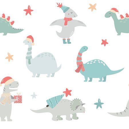 Seamlesss pattern with Christmas dinos.