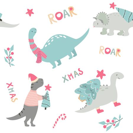 Christmas seamless pattern with dino Holiday print Stock Illustratie