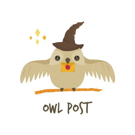 Cute owl in a magic hat with a letter. Owl post