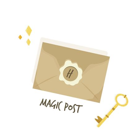 Magical letter invitation. Magic post flat concept