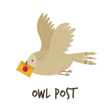 Cute flying owl with a letter. Owl post Çizim