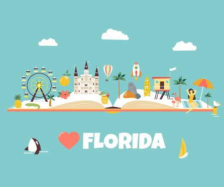 Bright abstract design with famous places Stock Illustratie