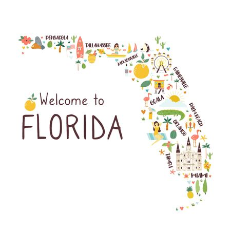 Illustrated abstract map of Florida with symbols Stock Illustratie