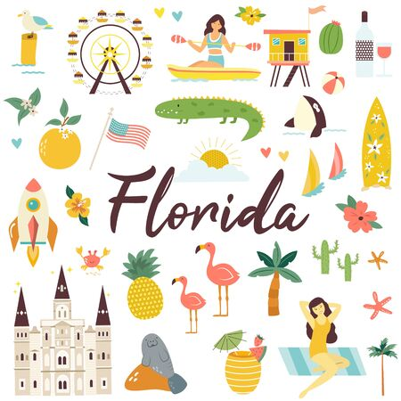 Big set of Florida icons, symbols, landmarks