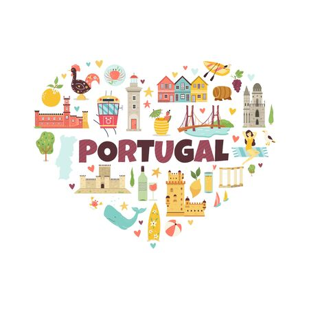 Portugal abstract design with icons symbols object