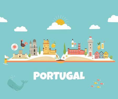 Conception abstraite du Portugal avec des icônes et des symboles