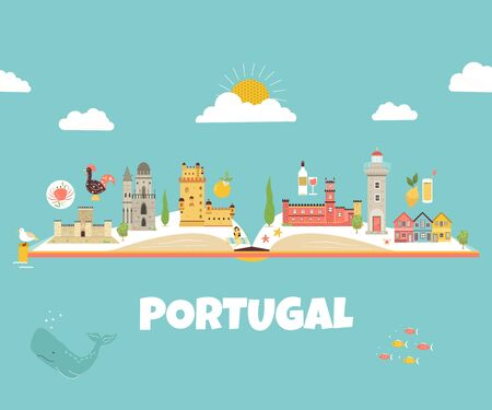 Portugal abstract design with icons and symbols Çizim