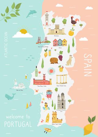 Illustrated map of Portugal with icons, cities