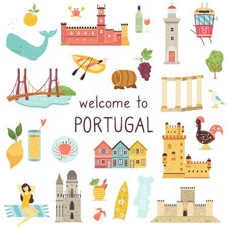 Set of Portuguese icons landmarks elements animals 向量圖像