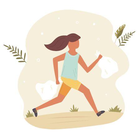 Young running girl doing plogging. Eco lifestyle. Ilustração